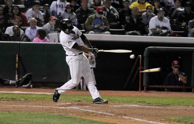 ValleyCats player Terrell Joyce breaks the bat as he connects with a pitch during the final game of the New York-Penn League Championship at Joe Bruno Stadium on Tuesday, Sept. 9, 2014, in Troy, N.Y.  (Paul Buckowski / Times Union) Photo: Paul Buckowski / 00028501A