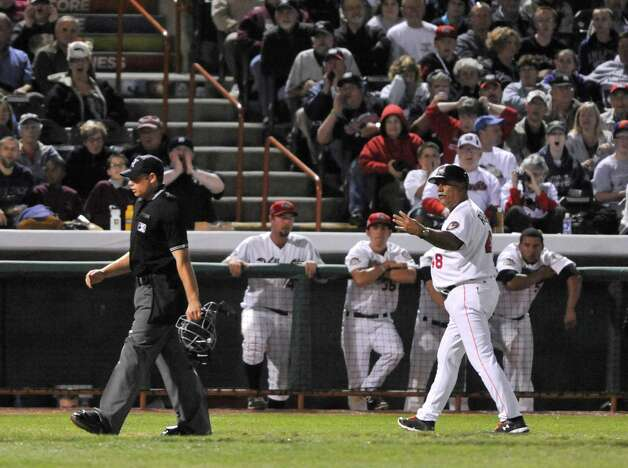 ValleyCats manager Ed Romero argues with an umpire  during the final game of the New York-Penn League Championship at Joe Bruno Stadium on Tuesday, Sept. 9, 2014, in Troy, N.Y.  (Paul Buckowski / Times Union) Photo: Paul Buckowski / 00028501A