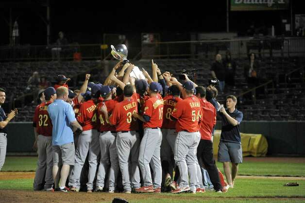 State College Spikes players celebrate their win over the ValleyCats in the final game of the New York-Penn League Championship at Joe Bruno Stadium on Tuesday, Sept. 9, 2014, in Troy, N.Y.  (Paul Buckowski / Times Union) Photo: Paul Buckowski / 00028501A