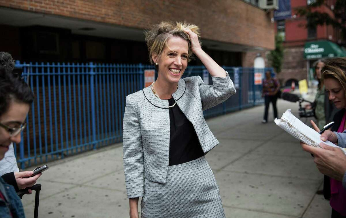 NEW YORK, NY - SEPTEMBER 09: Zephyr Teachout, a democratic primary challenger to New York Governor Andrew Cuomo, speaks to reporters outside a voting station at Public School 153 on September 9, 2014 in New York City. Teachout has gained unexpected traction in the primary season, campaigning on ending corruption in the state capital of Albany. (Photo by Andrew Burton/Getty Images) ORG XMIT: 511817403