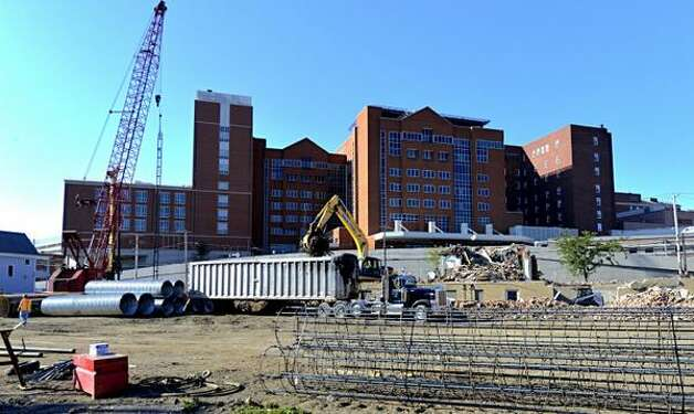 Work continues on the Albany Med project in Albany. (Skip Dickstein/Times Union)