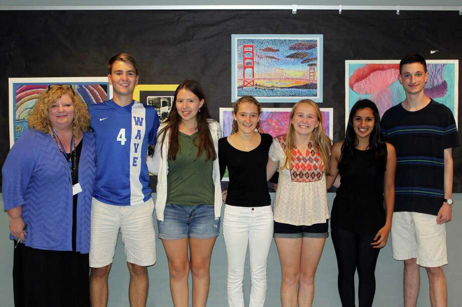 Darien High School principal Ellen Dunn, from left, stands with the National Merit Scholarship semifinalists, Matthew Hayes, Alison Lui, Kate Halabi, Amanda Sload, Sonia Gandhi and Noah Hathaway Photo: Contributed Photo, Contributed / Darien News Contributed