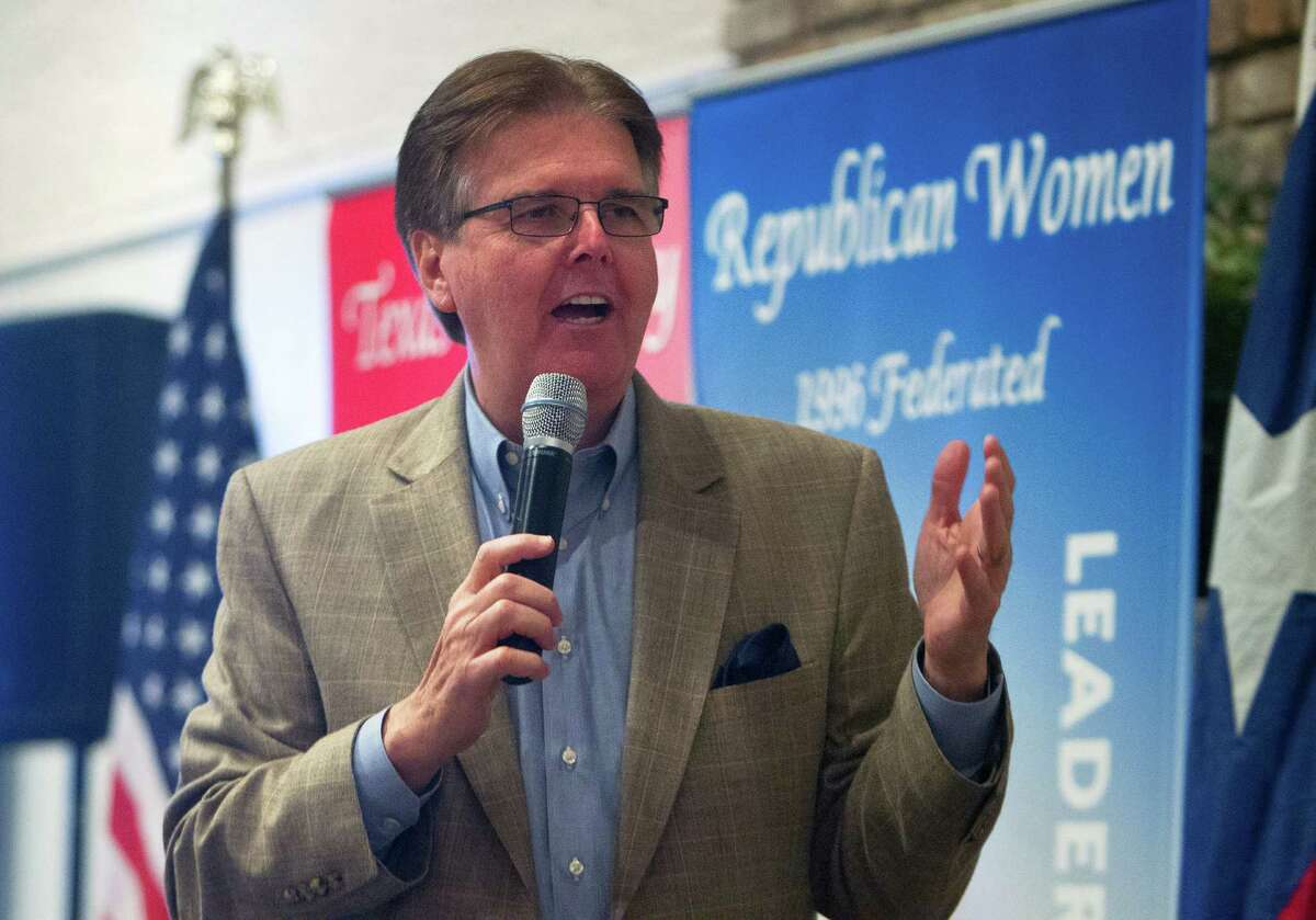 Senator Dan Patrick speaks during a Tea Party Republican Women meeting at the Greenwood Forest Residents Club, Tuesday, Sept. 9, 2014, in Houston.