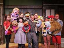 """""""Avenue Q"""" is on stage at TheatreWorks New Milford from Sept.19 to Oct.18. Left to right are Bo Mi Yim as Christmas Eve, Patricia McCarthy (front), Carey Van Hollen (back), Mike LíAltrella, Jamison Daniels, Jasmin Love Barbosa as Gary Coleman, and Glenn R. Couture as Brian."""