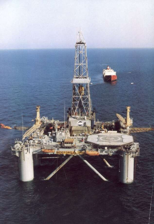 """In this undated file photo, Norwegian oil rig """"Bideford Dolphin"""" is seen in the Snorre oil field in the North Sea off the coast of Norway. Amid the rough undercurrents of economic and financial uncertainty tugging at Europe, Norway is a rock-solid island of the blessed. Because it is outside the European Union, it does not have to contribute to bailouts of Greece and other foundering eurozone nations. And if all that were not enough, one of Europe's most prosperous nations is about to get richer _ two of its previous North Sea oil discoveries are substantially bigger than previously thought. Photo: Associated Press"""