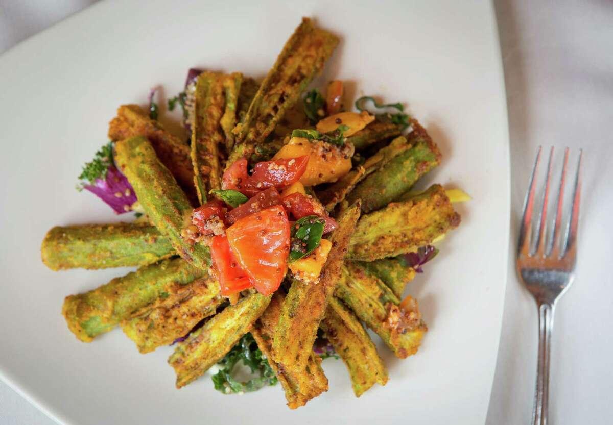Indika restaurant's fried okra salad, photographed, Wednesday, July 16, 2014, in Houston. ( Nick de la Torre )