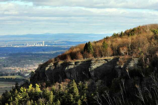 View of cliffs and the City of Albany from Cliff Edge Overlook on Tuesday, Nov. 19, 2013, at John Boyd Thacher Park in New Scotland, N.Y. (Cindy Schultz / Times Union) Photo: Cindy Schultz / 00024713A