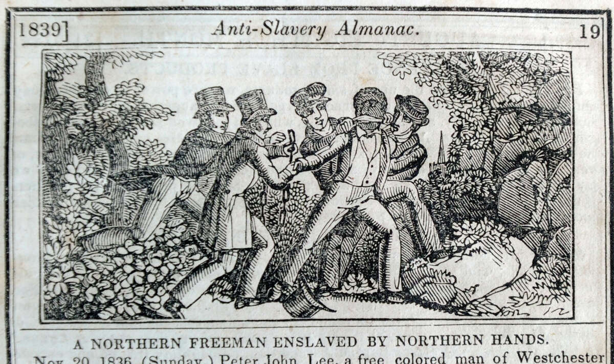 An Illustration from The American Anti-Slavery Almanac for 1839 of the abduction of Peter John Lee, a fugitive slave who lived in the Thomas Lyon house in Byram, Conn., and was abducted by slave catchers when he crossedd the Byram Bridge, in New York state, in 1836, and taken back to the south.