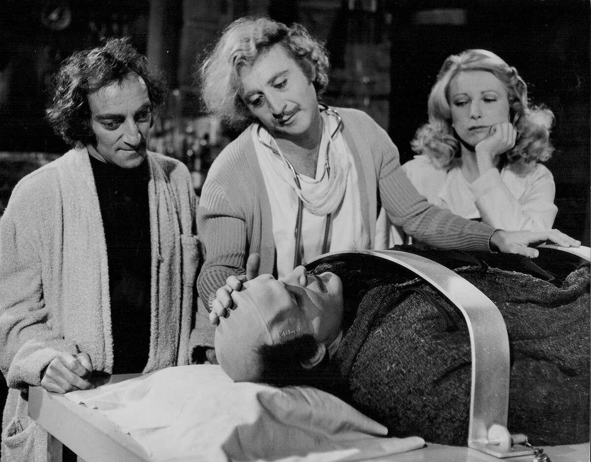 Actors Gene Wilder, Peter Boyle, Marty Feldman and Teri Garr in a scene from the movie 'Young Frankenstein', 1974.