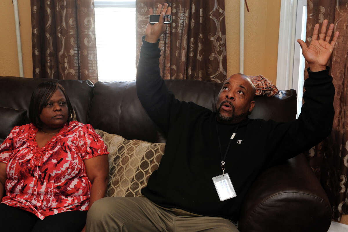 Horace Jennings, seen here in his Bridgeport, Conn. home Jan. 31st, 2013, describes being tasered by Bridgeport during an incident last week. Jennnings was arrested along with his wife Margaret, seen here, and three sons during the incident. The family has filed a complaint.