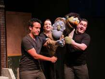 """Avenue Q"" will be on stage at TheatreWorks New Milford from Friday, Sept.19, to Saturday, Oct. 18. Left to right in rehearsal are Mike L'Altrella puppeting Rod, and Carey Van Hollen and Jamison Daniels both puppeting Nicky."