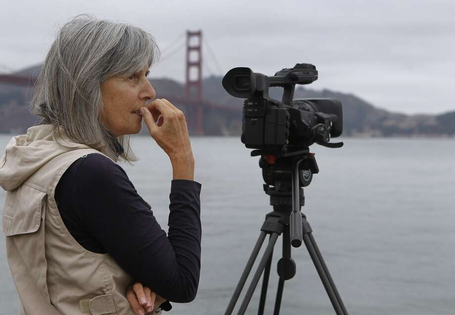 With her camera at the ready, documentary filmmaker Judy Irving watches for brown pelicans at S.F.'s Crissy Field. Photo: Paul Chinn, The Chronicle