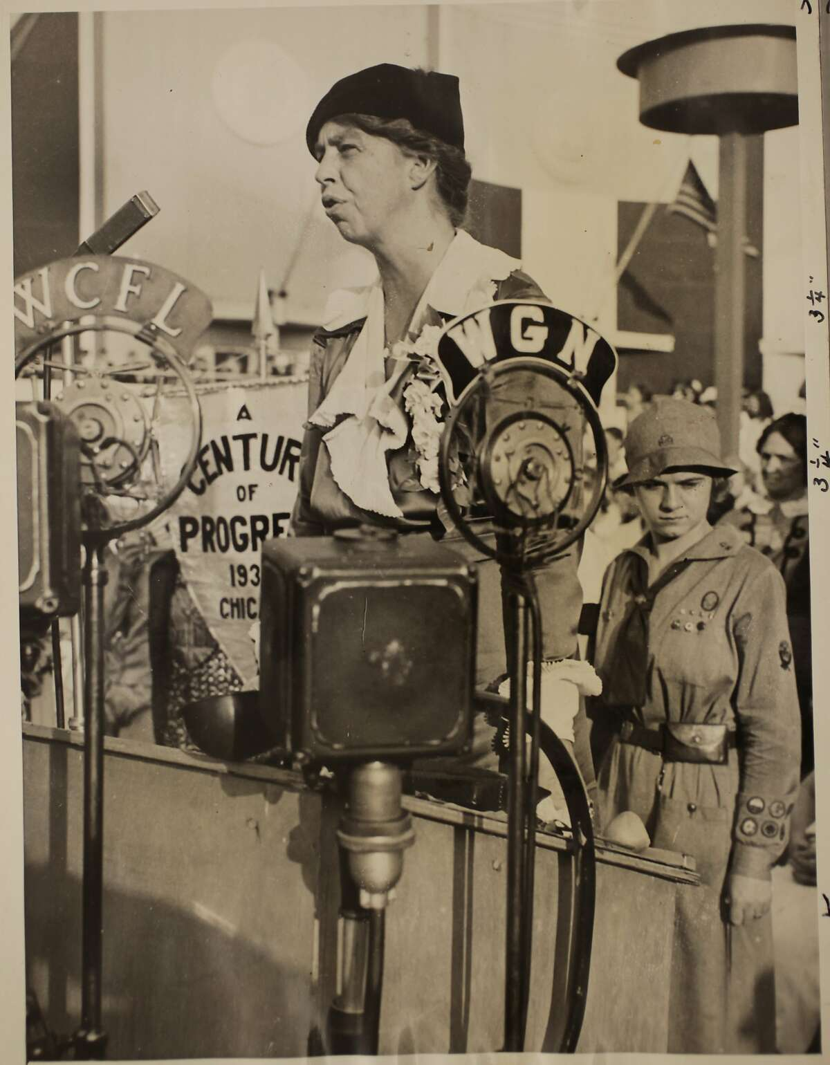 Eleanor Roosevelt speaks of women's part in the life of the world, Women's Day a the World's Fair, November 1, 1933.