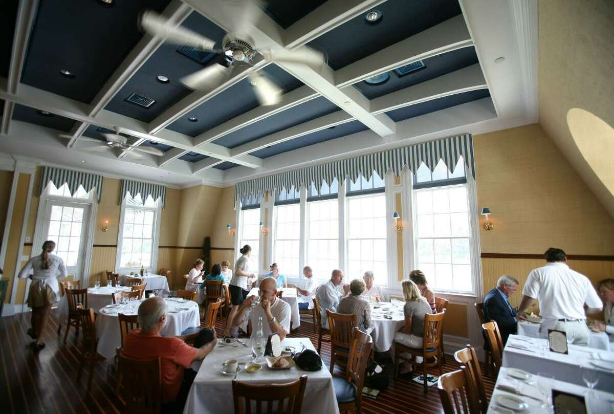 The dining room at the Boathouse Restaurant at the Saugatuck Rowing Club in Westport