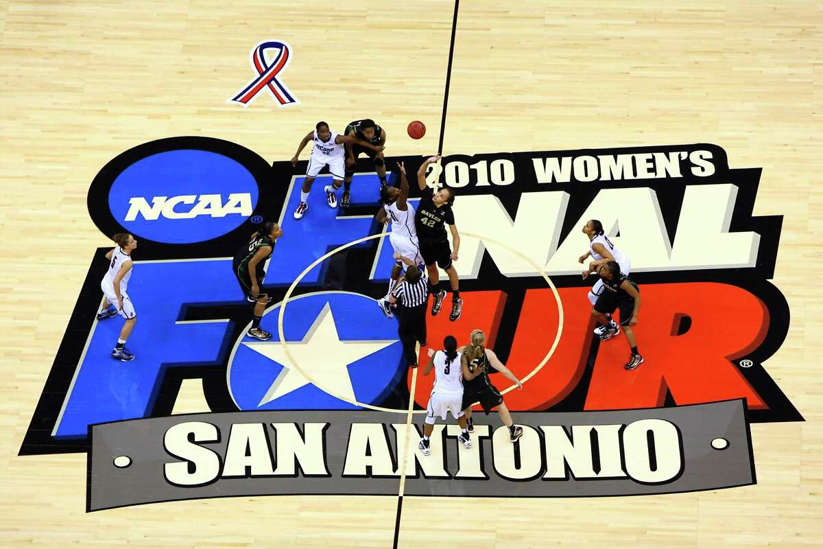 Baylor and UConn tip-off during their semifinal game in the NCAA Women's Final Four at the Alamodome in San Antonio on April 4, 2010.