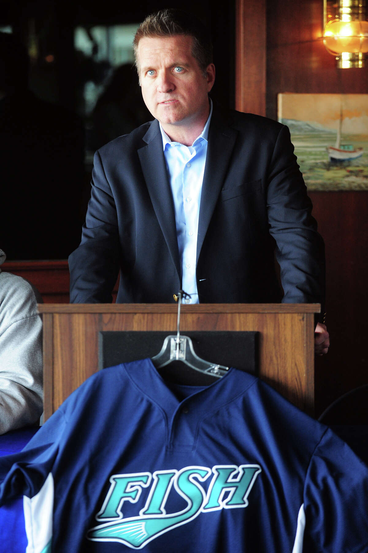 Former Bridgeport Bluefish General Manager Ken Shepard speaks at a media day press conference in Bridgeport, Conn., April 23, 2014.