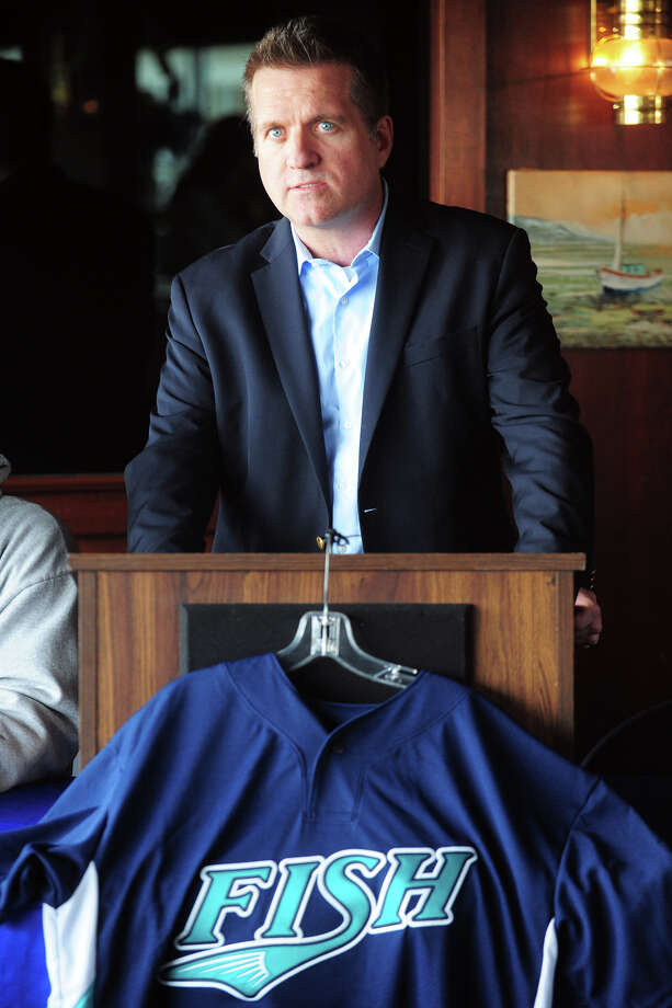 Former Bridgeport Bluefish General Manager Ken Shepard speaks at a media day press conference in Bridgeport, Conn., April 23, 2014. Photo: Ned Gerard / Connecticut Post