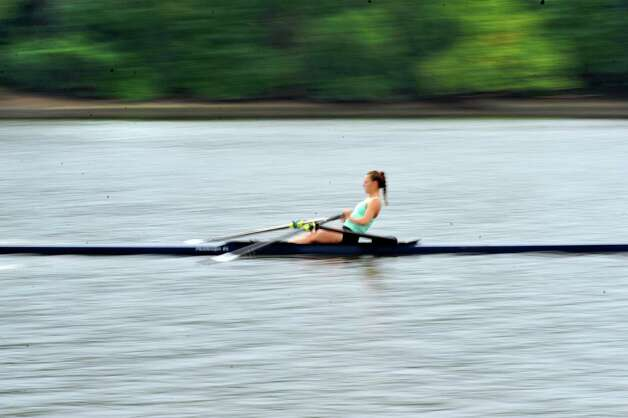 Meghan Gutknecht, 17, a rower with the Albany Rowing Center, works out on the Hudson River on Thursday, Aug. 21, 2014, in Albany, N.Y.  (Paul Buckowski / Times Union) Photo: Paul Buckowski / 00028268A