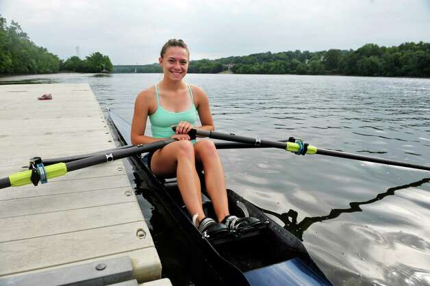 Meghan Gutknecht, 17, a rower with the Albany Rowing Center, poses for a photograph before heading out on the Hudson River on Thursday, Aug. 21, 2014, in Albany, N.Y.  (Paul Buckowski / Times Union) Photo: Paul Buckowski / 00028268A