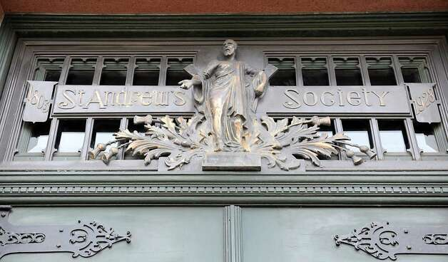 Bronze sign bas-relief over front door at the St. Andrew's Society on Wednesday, Sept. 10, 2014 in Albany, N.Y. (Lori Van Buren / Times Union) Photo: Lori Van Buren / 00028556A