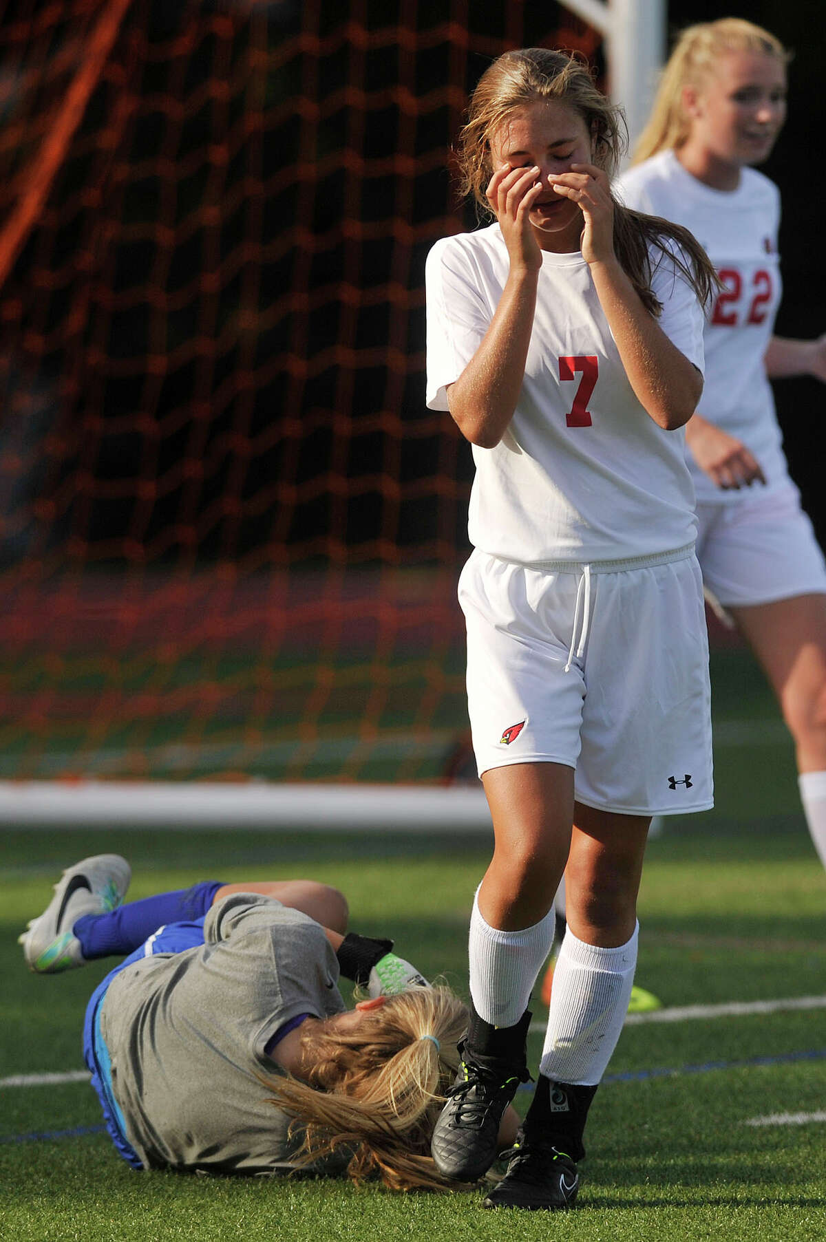 Greenwich's Anna Giannuzzi reacts after Darien goalie Kate Fiore strips her of the ball during their soccer game at Greenwich High School in Greenwich, Conn., on Wednesday, Sept. 10, 2014. Darien won, 3-0.