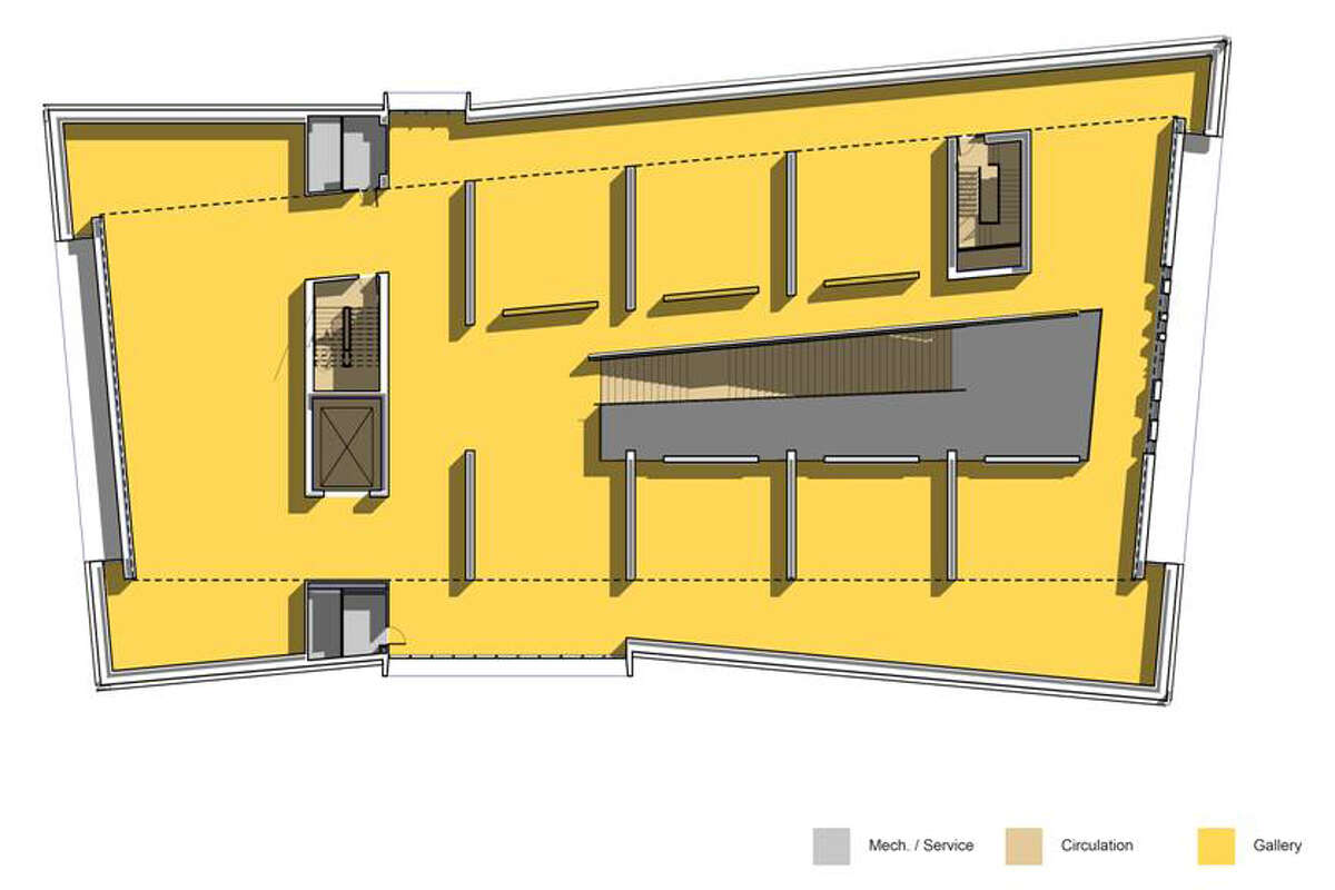 A diagram of the second floor gallery space at the new Anderson Center at Stanford University.Ê