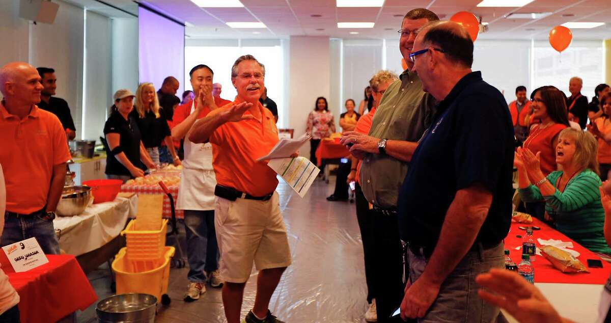 Former Houston Astros Manager Phil Garner is the master of ceremonies prior to Minute Maid employees attempting to set the Guinness World Record of squeezing OJ from fresh oranges by one individual in one minute at The Minute Maid Company offices Wednesday, Sept. 10, 2014, in Sugar Land.