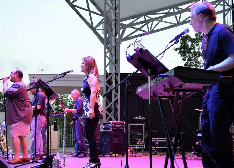 The band DNR performs the last concert of the summer season at the Levitt Pavilion. Photo: Jarret Liotta / Westport News