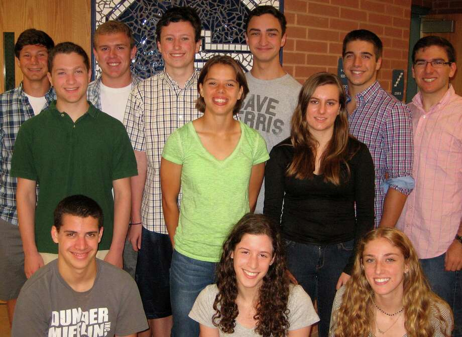 Thirteen students at Staples High School have been selected as semifinalists in the National Merit Scholarship program. They include: back row, from left: Jake Atlas, Ian Palmer, Kelly Pogue, Nicholas Massoud, Kyle Baer and Everett Sussman; middle row:  Zachary Effman, Megan Root and Claudia Landowne; front row: William Vester, Emma Lupoff and Abigail Lustig. Missing from photo is Shelby Cataldo. Photo: Contributed Photo / Westport News