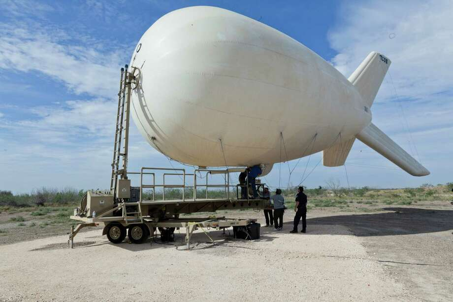 An aerostat, used by the Border Patrol, is a 55-foot balloon with military-grade surveillance cameras that can read a license plate from miles away. Photo: U.S. Customs And Border Protection, Courtesy
