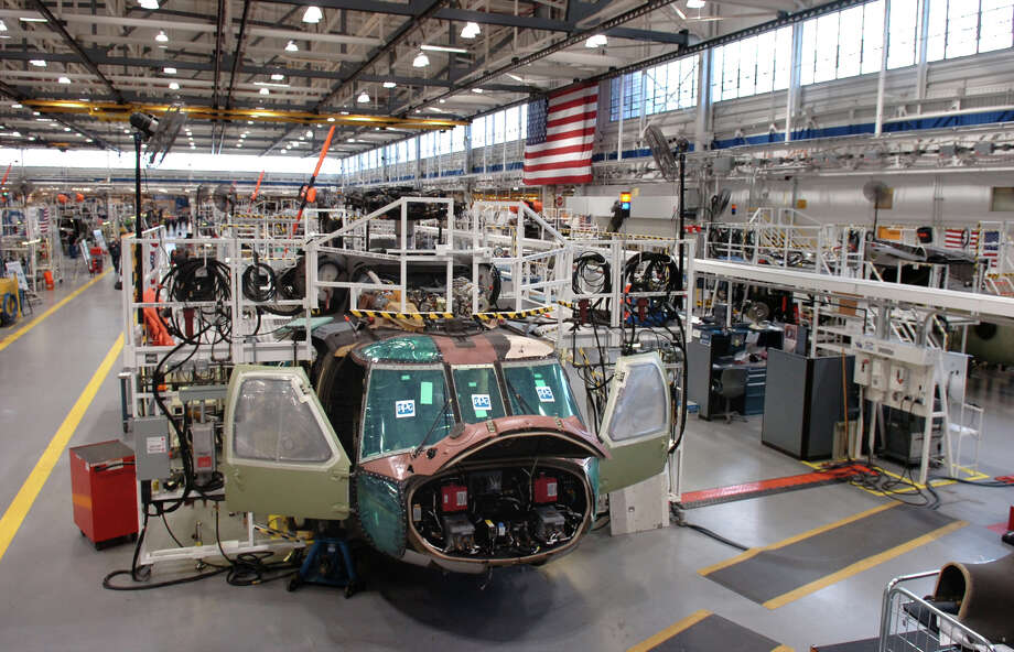 A Sikorsky UH-60M Black Hawk sits partially built on the line in the Military Assembly Building at Sikorsky Aircraft in Stratford in 2008. Photo: Ned Gerard, Ned Gerard/File Photo / Connecticut Post