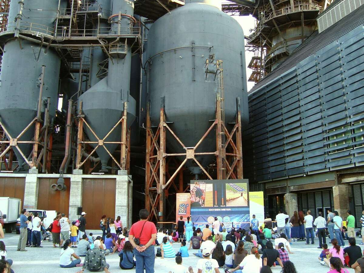 The park provides a slew of cultural and recreational opportunities, such as its Science Under the Stars documentary screening series, against an industrial backdrop.