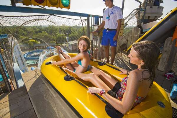 The 65-foot Master Blaster at Schlitterbahn has two separate plunges of 30 feet.