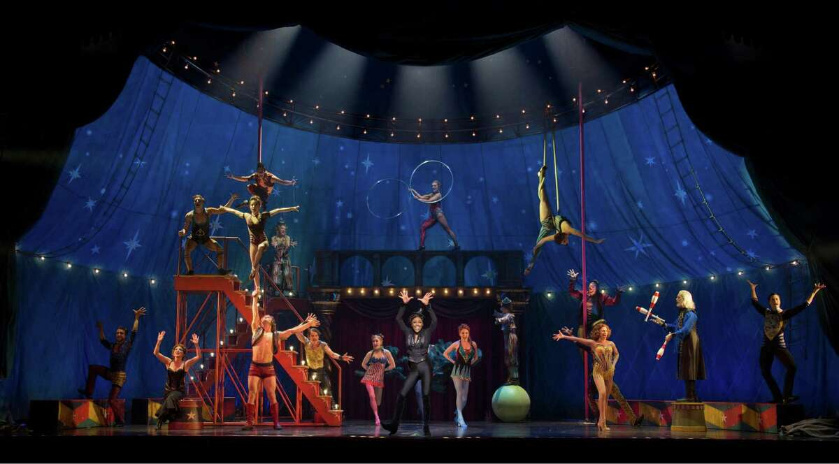 """The cast of """"Pippin"""" performs """"Magic to Do"""" with circus acts designed by San Francisco native and Pickle Family Circus alum Gypsy Snider."""