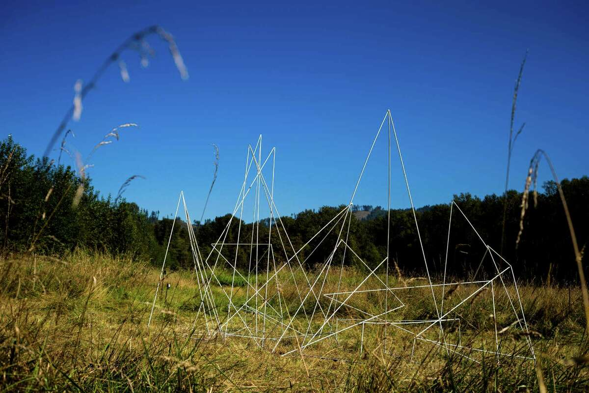 Sun beats down on visual installations at the eighth annual Lo-Fi Festival Sunday, August 7, 2014, at The Smoke Farm in Arlington, Washington.