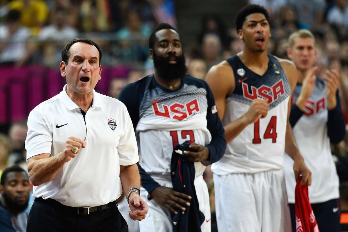 BARCELONA, SPAIN - SEPTEMBER 11: Head coach Mike Krzyzewski of the USA Basketball Men's National Team reacts during a 2014 FIBA Basketball World Cup semi-final match between USA and Lithuania at Palau Sant Jordi on September 11, 2014 in Barcelona, Spain. (Photo by David Ramos/Getty Images)