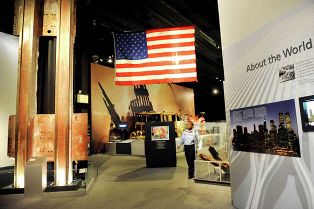 The flag that flew over the World Trade Center is part of the 9-11 exhibit on Wednesday, Sept. 10, 2014, at the New York State Museum in Albany, N.Y. (Cindy Schultz / Times Union) Photo: Cindy Schultz, Albany Times Union / 00028551A