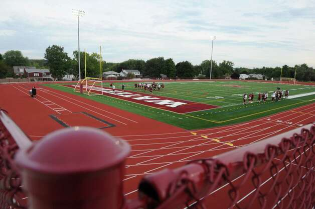 The Watervliet High School football team practices on their new turf field on Wednesday Sept. 10, 2014 in Watervliet, N.Y. (Michael P. Farrell/Times Union) Photo: Michael P. Farrell / 00028562A