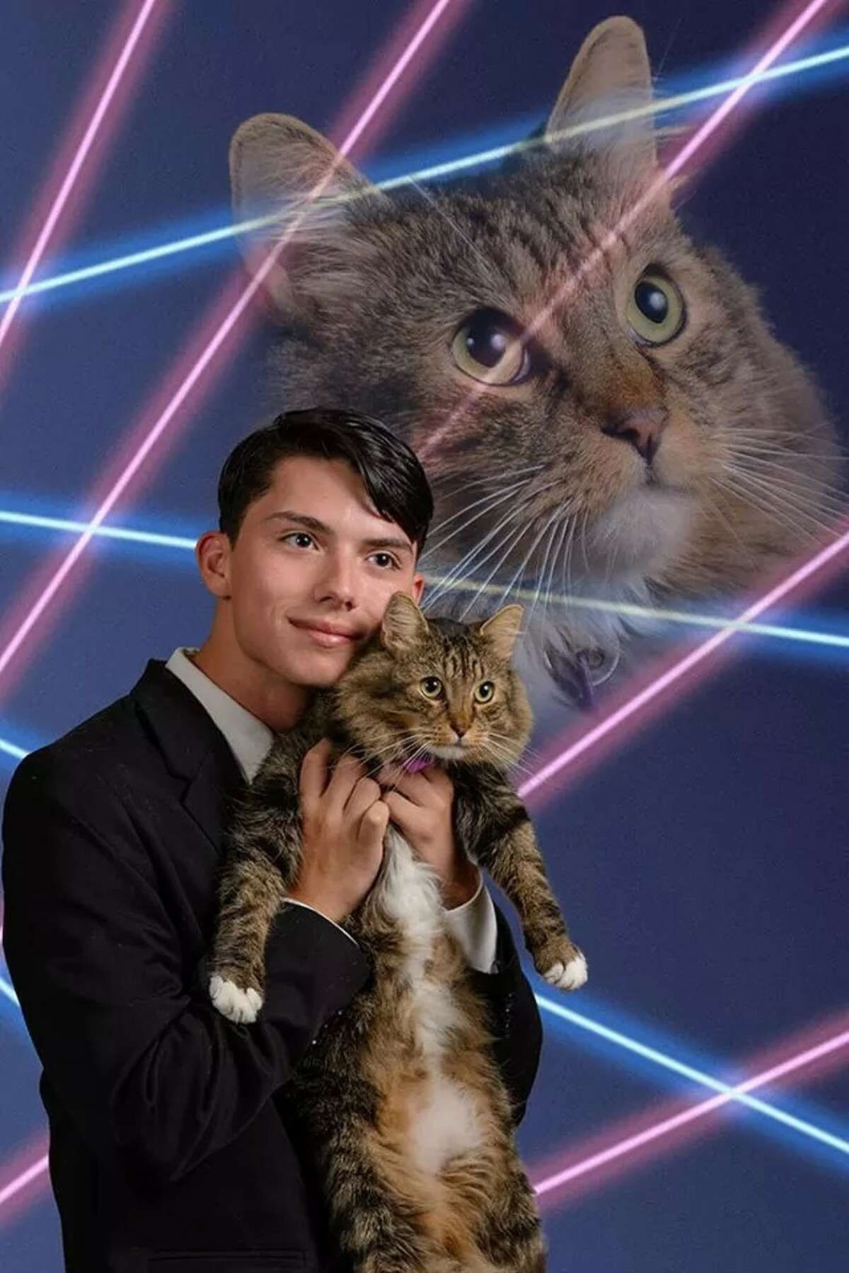 Draven Rodriguez, 16, and his cat Mr. Bigglesworth in a photo taken by Vincent Giordano. Rodriguez wanted the image used as his senior portrait in his Schenectady High School yearbook. (Provided)