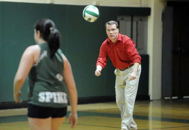 Schalmont High School girls' volleyball coach Kevin Meachem during their team practice on Thursday Sept. 11, 2014 in Rotterdam, N.Y. (Michael P. Farrell/Times Union) Photo: Michael P. Farrell / 00028559A