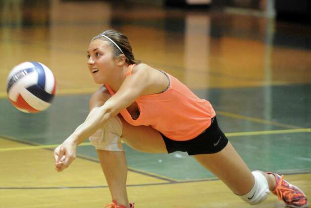 Schalmont High School girls' volleyball player Giovanna Feri during their team practice on Thursday Sept. 11, 2014 in Rotterdam, N.Y. (Michael P. Farrell/Times Union) Photo: Michael P. Farrell / 00028559A