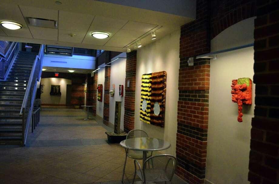 Kari Cholnoky's work hangs in the Lower Level Art Gallery at the Darien Library. Photo: Megan Spicer / Darien News