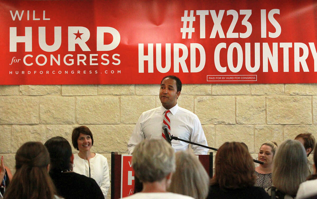 Republican Will Hurd (center) speaks Friday September 12, 2014 at a rally at the offices of Pape Dawson Engineers. Hurd, a retired CIA agent, is running for Congress in House District 23, challenging first-term U.S. Rep. Pete Gallego, D-Alpine.