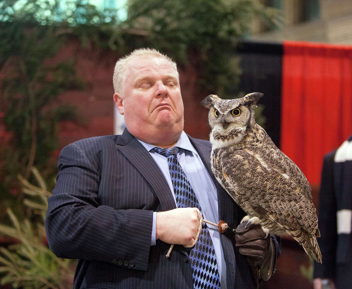Rob Ford holding an owl.