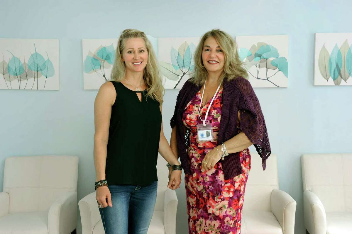 Karen Barski, left, and Angela D'Amico, of Trumbull, Conn. are the owners of the Compassionate Care Center, medical marijuana dispensary opening on Garella Road in bethel, Conn. Photo taken Thursday, Sept. 11, 2014.