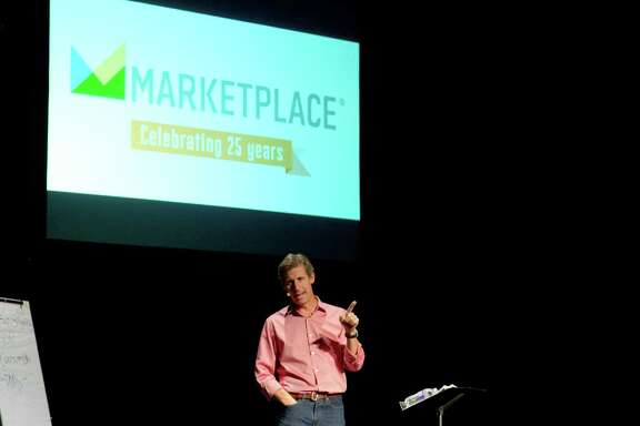 """Kai Ryssdal, host and senior editor of """"Marketplace,"""" on tour with the 25th anniversary of the radio show."""