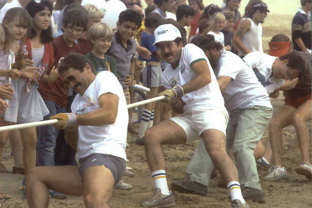 "Bottom of the Lake - In 1985, a Tug of War was one of the highlights of ""The Last Annual Bottom of the Lake Festival"" before Lake Woodlands was filled in"