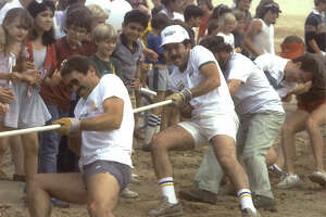 """Bottom of the Lake - In 1985, a Tug of War was one of the highlights of """"The Last Annual Bottom of the Lake Festival"""" before Lake Woodlands was filled in"""