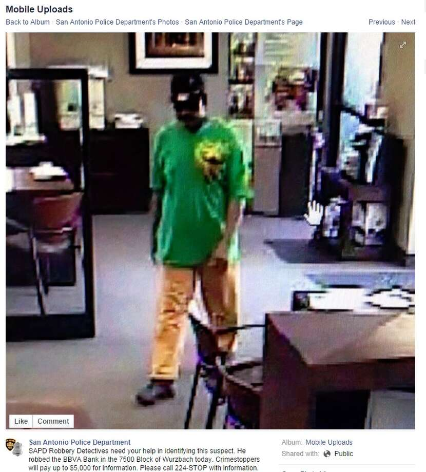 Police are searching for a suspect who robbed a Compass Bank on the Northwest Side of San Antonio Friday afternoon. SAPD shared this photo on its Facebook page Sept. 12, 2012. Photo: SAPD, Courtesy