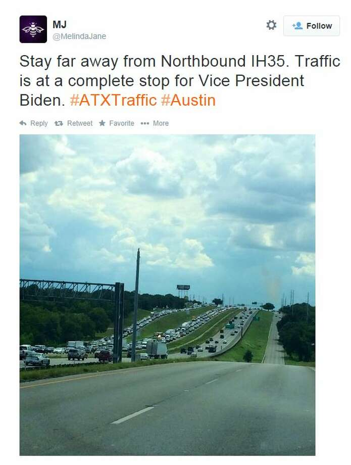 "@MelindaJane tweeted, ""Stay far away from Northbound IH35. Traffic is at a complete stop for Vice President Biden."" Photo: Fechter, Joshua I, Screenshot Via Twitter"